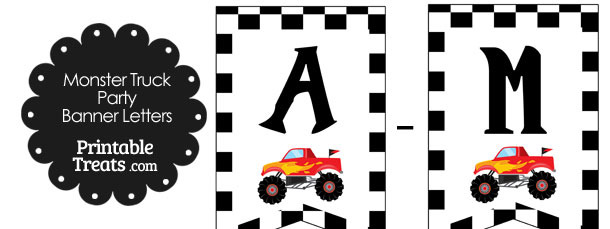 Red Monster Truck Birthday Bunting Banner Letters A-M