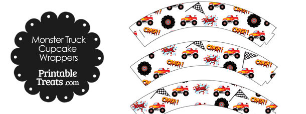 Red Monster Truck Cupcake Wrappers