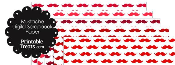 Red Mustache Digital Scrapbook Paper