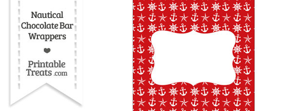 Red Nautical Chocolate Bar Wrappers