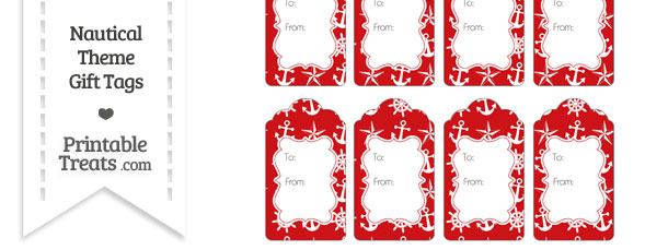 Red Nautical Gift Tags