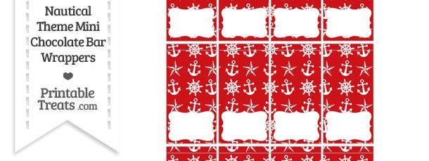 Red Nautical Mini Chocolate Bar Wrappers