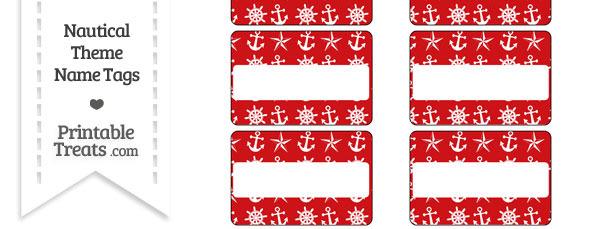 Red Nautical Name Tags