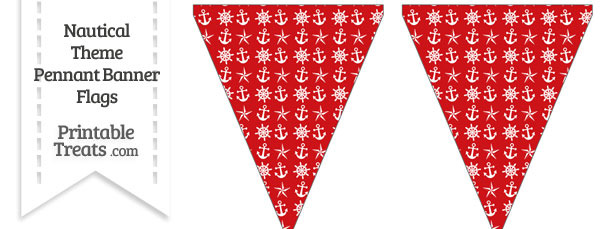 Red Nautical Pennant Banner Flag