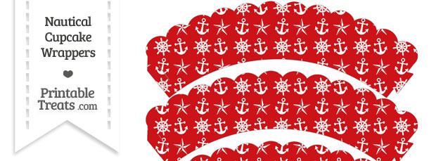 Red Nautical Scalloped Cupcake Wrappers
