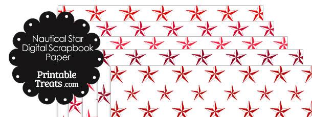 Red Nautical Star Digital Scrapbook Paper