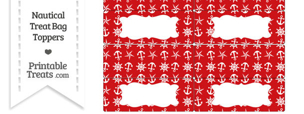 Red Nautical Treat Bag Toppers