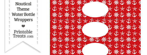 Red Nautical Water Bottle Wrappers