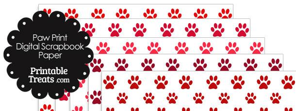 Red Paw Print Digital Scrapbook Paper