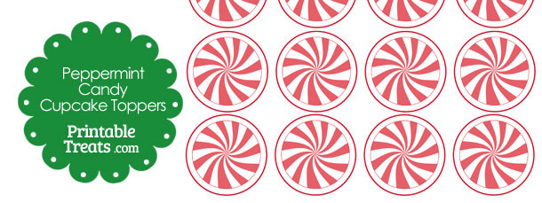 Red Peppermint Candy Cupcake Toppers
