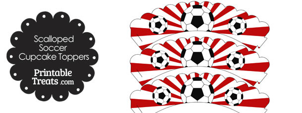 Red Scalloped Sunburst Soccer Cupcake Wrappers
