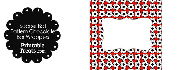 Red Soccer Ball Pattern Chocolate Bar Wrappers