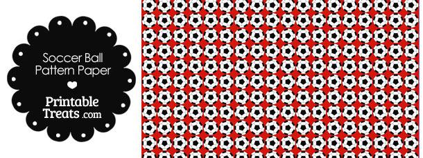 Red Soccer Ball Pattern Digital Scrapbook Paper