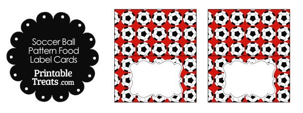 Red Soccer Ball Pattern Food Labels