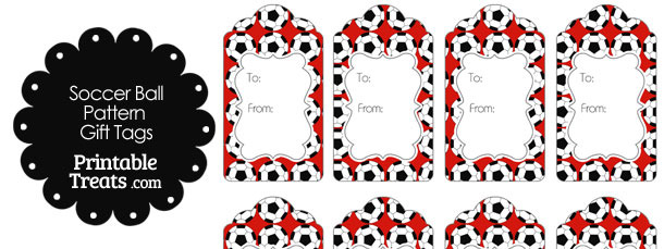 Red Soccer Ball Pattern Gift Tags