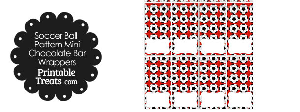 Red Soccer Ball Pattern Mini Chocolate Bar Wrappers