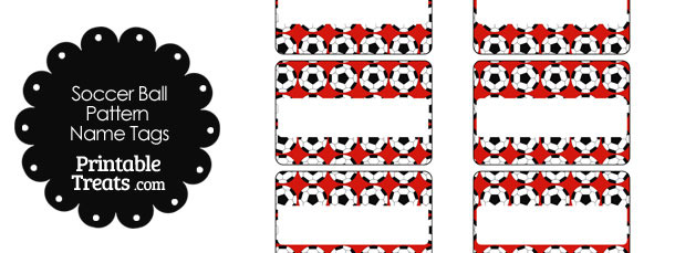 Red Soccer Ball Pattern Name Tags