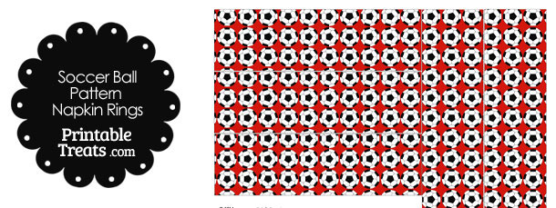 Red Soccer Ball Pattern Napkin Rings