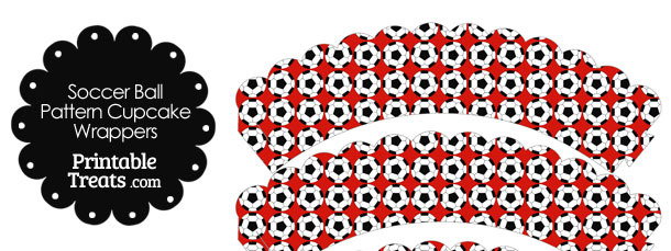 Red Soccer Ball Pattern Scalloped Cupcake Wrappers