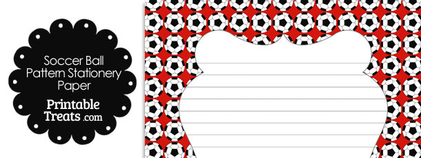 Red Soccer Ball Pattern Stationery Paper