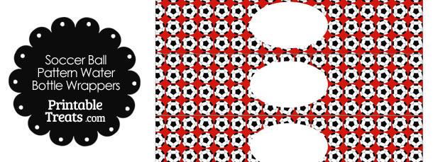 Red Soccer Ball Pattern Water Bottle Wrappers