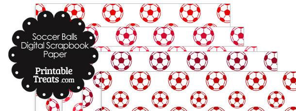 Red Soccer Digital Scrapbook Paper