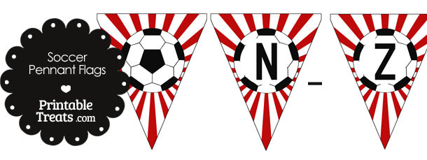 Red Soccer Party Flag Letters N-Z