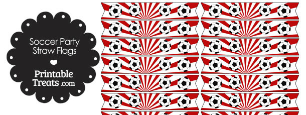 Red Soccer Party Straw Flags