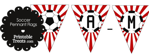 Red Soccer Pennant Banner Flag Letters A-M