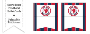 Red Sox Food Label Buffet Cards