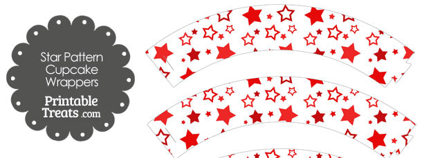 Red Star Pattern Cupcake Wrappers