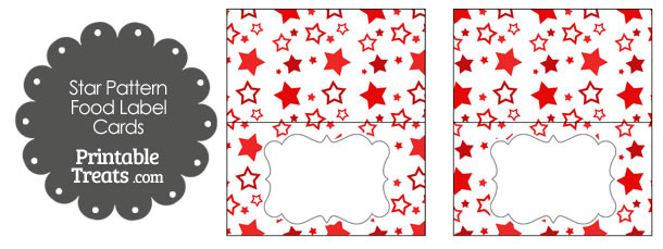 Red Star Pattern Food Labels