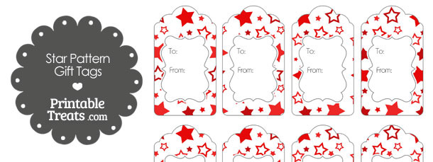 Red Star Pattern Gift Tags