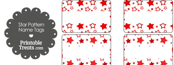 Red Star Pattern Name Tags