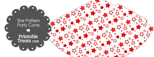 Red Star Pattern Party Cone