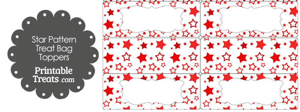 Red Star Pattern Treat Bag Toppers