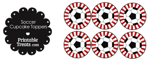Red Starbust Soccer Cupcake Toppers