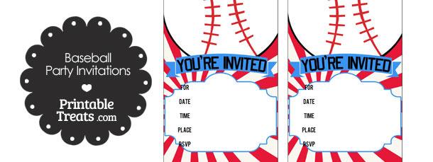 Red Sunburst Baseball Party Invites