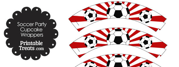 Red Sunburst Soccer Cupcake Wrappers