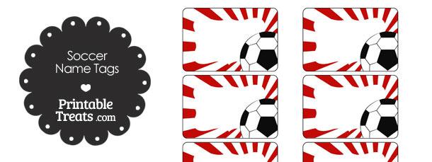 Red Sunburst Soccer Name Tags