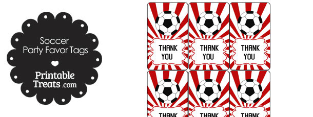 Red Sunburst Soccer Party Favor Tags