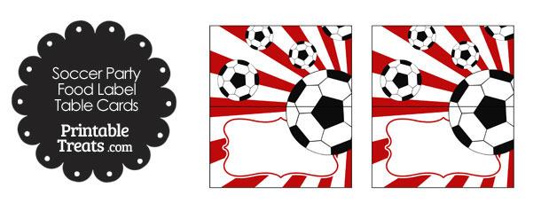 Red Sunburst Soccer Party Food Labels