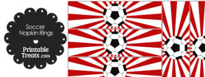 Red Sunburst Soccer Party Napkin Rings