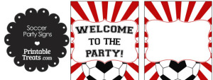 Red Sunburst Soccer Party Signs