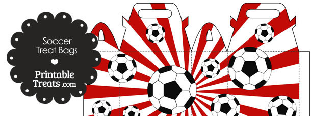 Red Sunburst Soccer Party Treat Bags