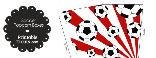 Red Sunburst Soccer Popcorn Boxes