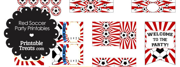 Red Sunburst Soccer Printable Party Set