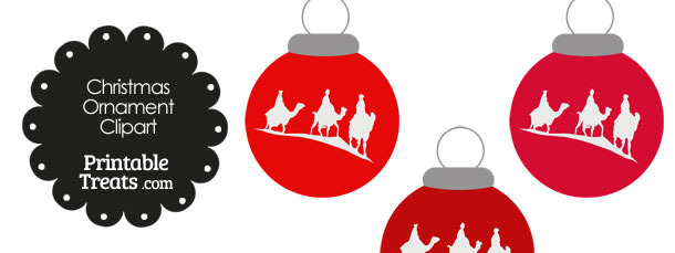 Red Three Wise Men Christmas Ornament Clipart
