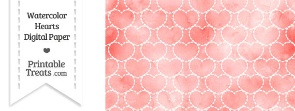 Red Watercolor Hearts Digital Scrapbook Paper