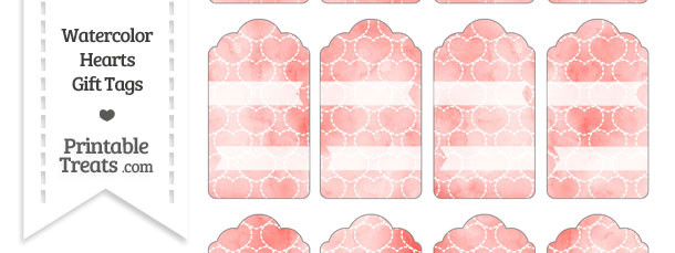 Red Watercolor Hearts Gift Tags